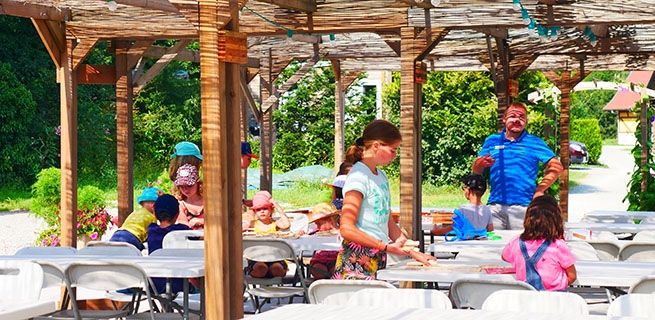 Playgrounds for kids at the campsite Les Castors in the Haut-Rhin