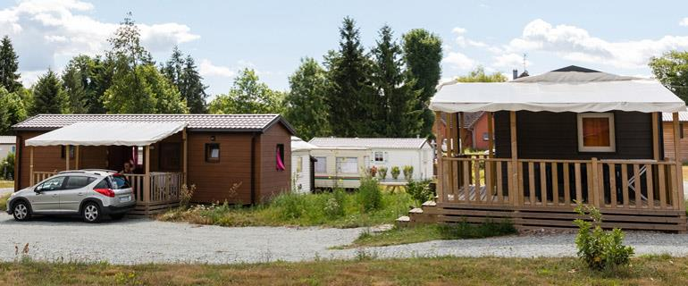 Rental of Mobile Homes or traditional wooden chalets and cabins at Les Castors, Campsite in Alsace