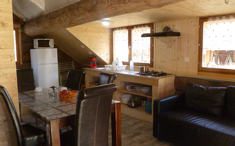 Wooden logs chalet up for holidays rental in a campsite nearby Strasbourg