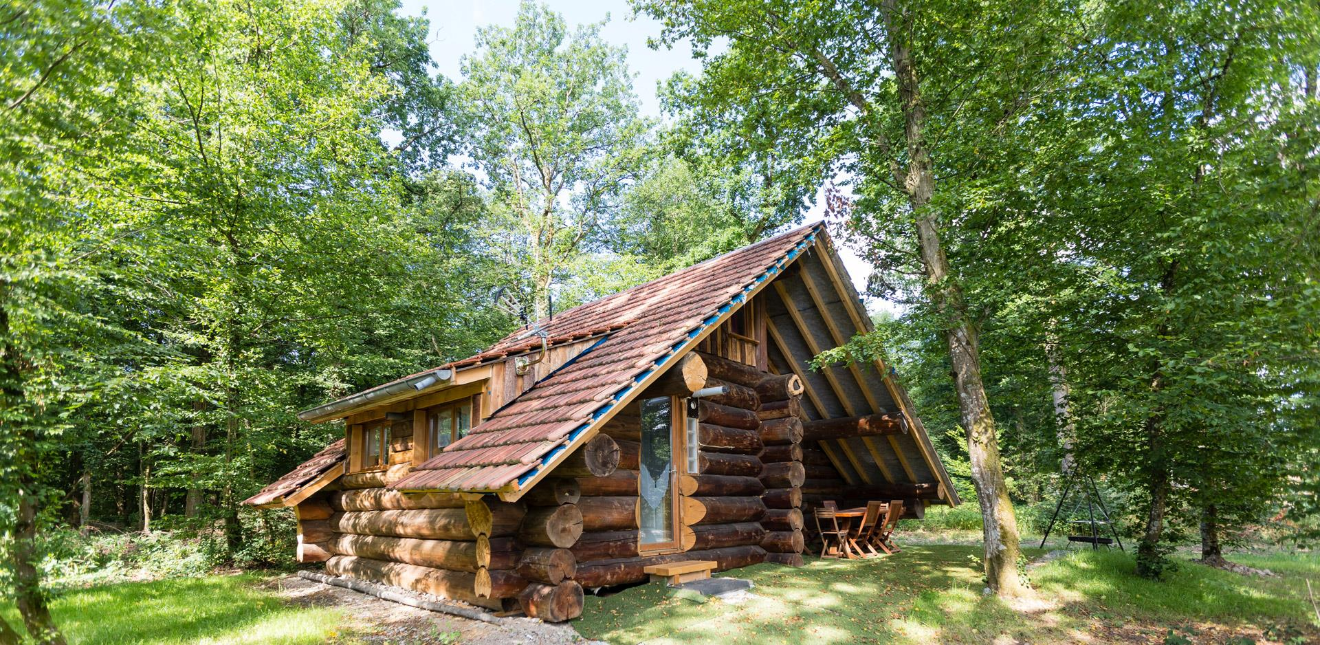 View of the Log Cabin, holiday home to rent at the Campsite Les Castors in Alsace