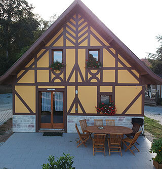 Wooden Chalet holiday rental at the Campsite Les Castors at the foothills of the Vosges Mountains